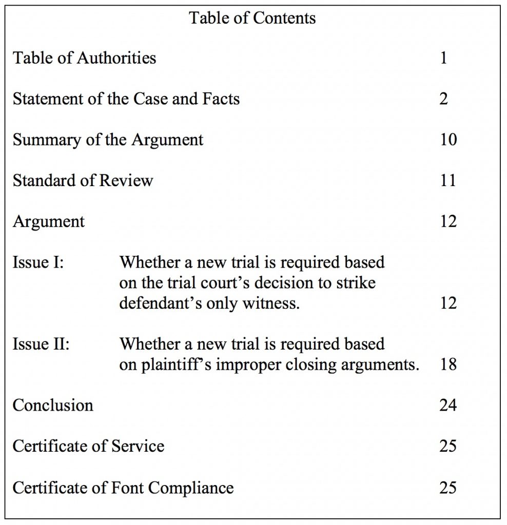 Table of Contents for Answer Brief