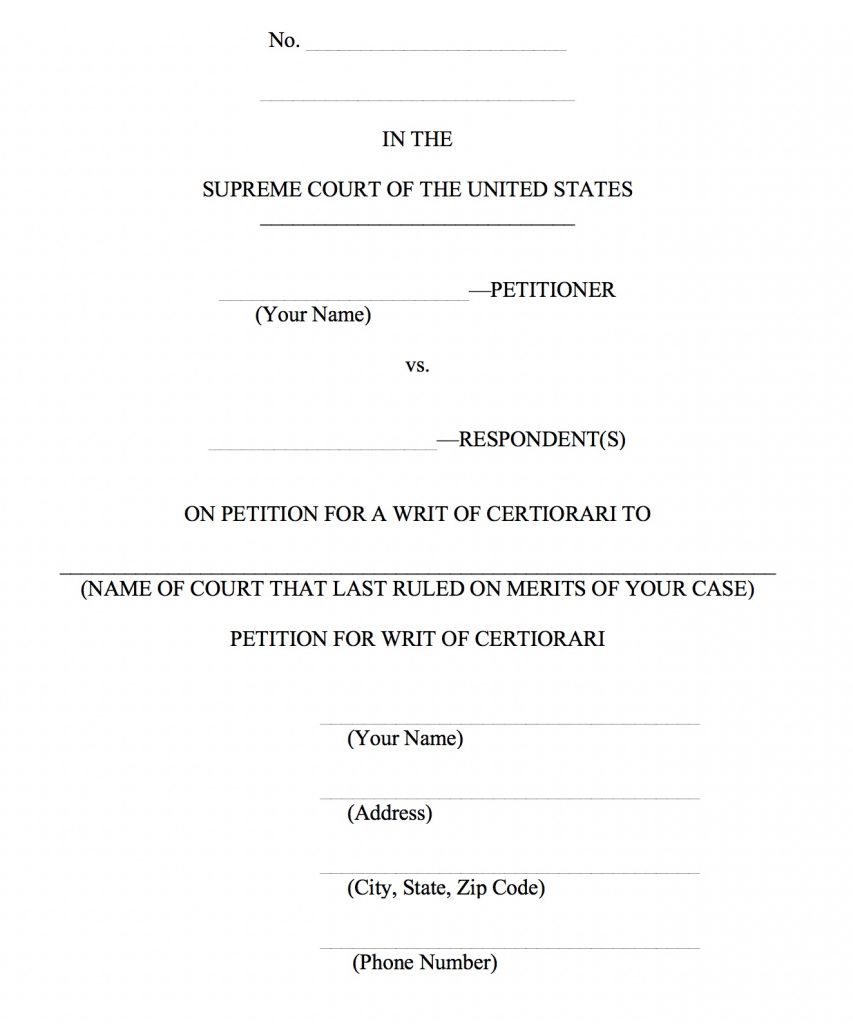 On Petition for a Writ of Certiorari