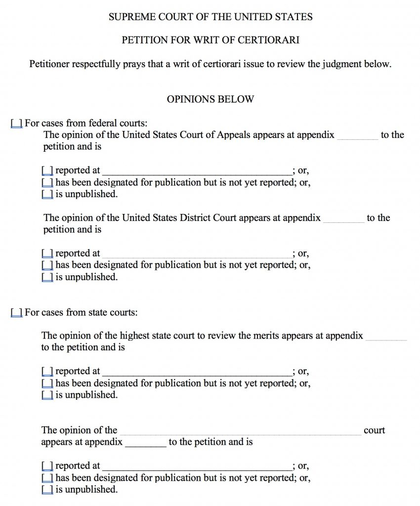 On Petition for a Writ of Certiorari form, part 5