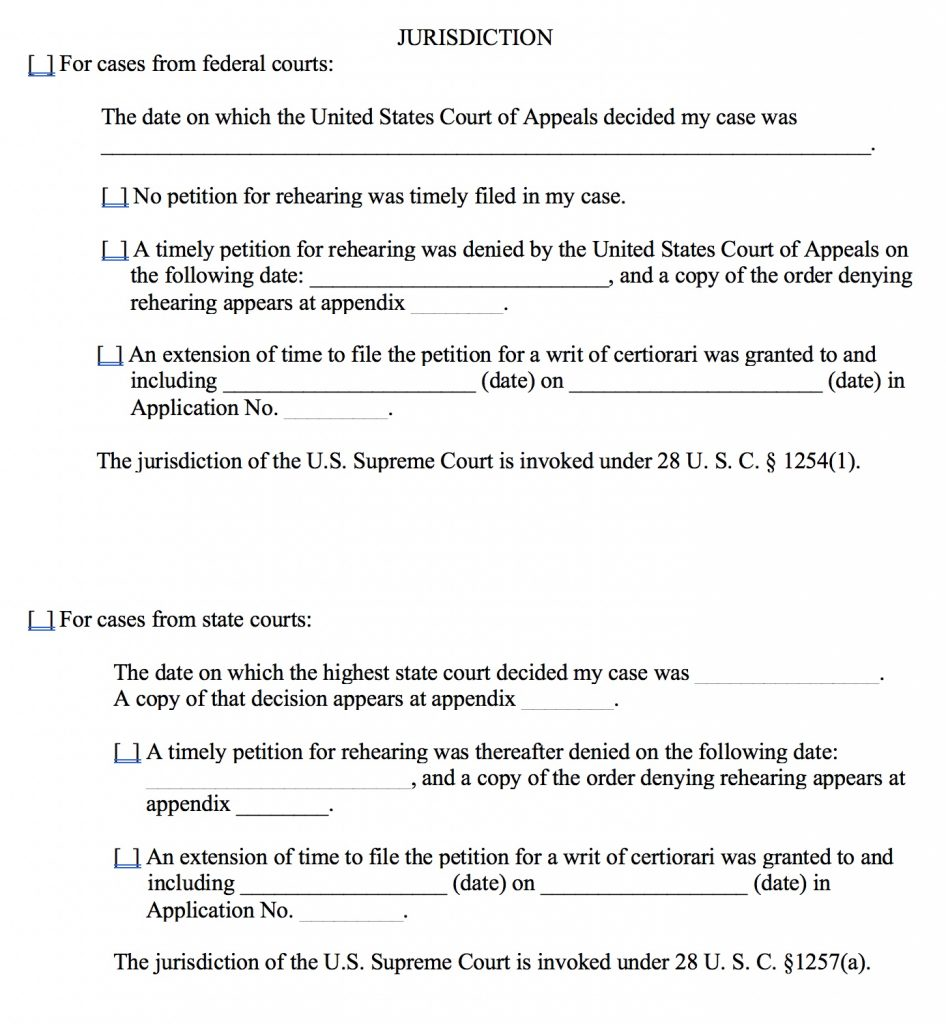 On Petition for a Writ of Certiorari form, part 6