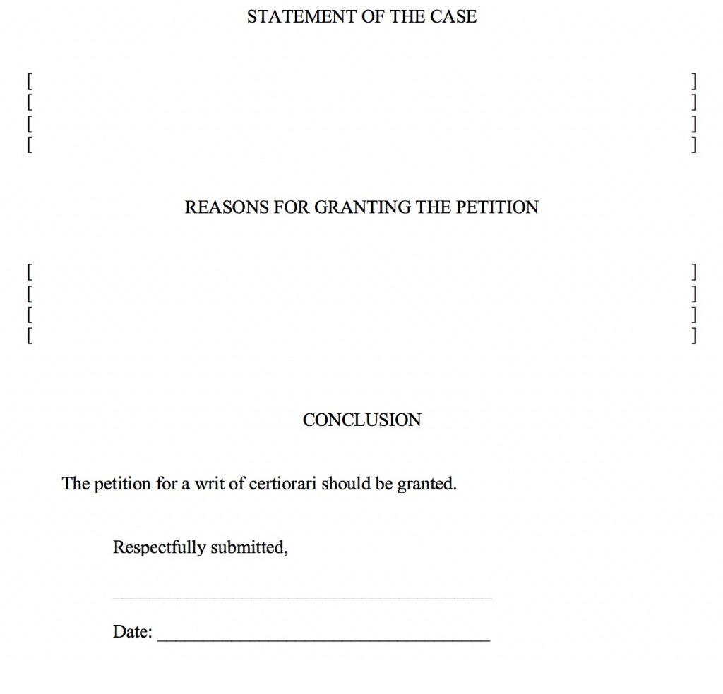 On Petition for a Writ of Certiorari form, part 8